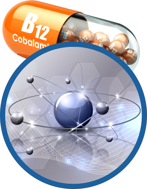 atom to represent oxidative stress, which can be treated with B12 injections