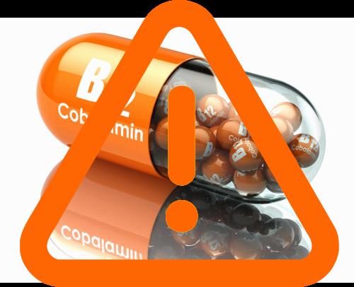 b12 deficiency risk factors warning sign over B12 capsule