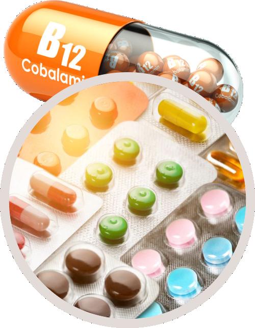various drugs superimposed over B12 capsule