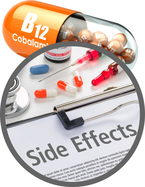 Side Effects sheet superimposed over B12 capsule