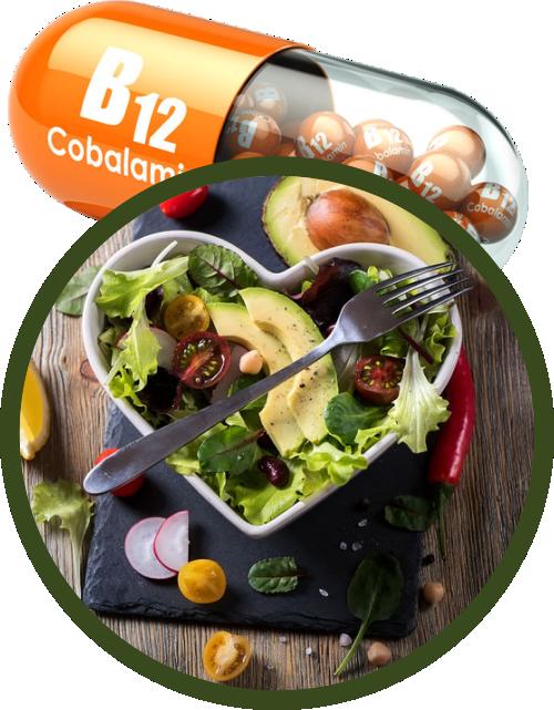vegan diet example superimposed over B12 capsule