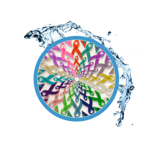 a circle of cancer ribbons over a water splash to show that iv therapy can help prevent some types of cancer