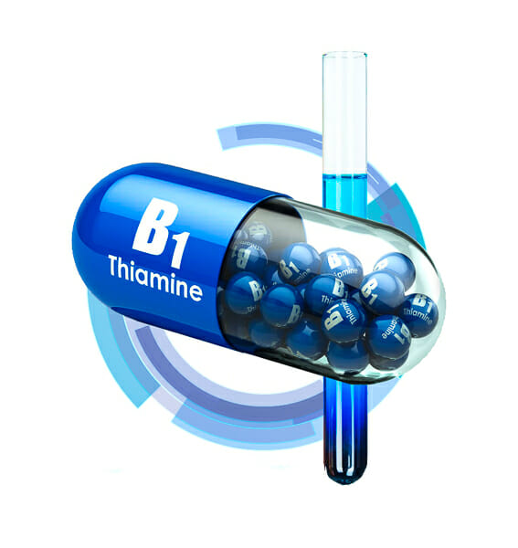 vitamin B1 (thiamine) capsule 3d rendering